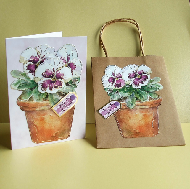 Handmade Card and Gift Bag set, Purple Pansies (413)