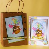 Greeting Card and Gift Bag Set, Hot Air Balloon Ride