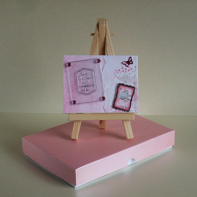 Miniature Mixed Media Canvas With Easel and Gift Box (Pink Mouse)
