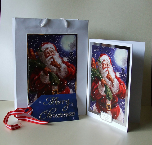 Handmade Christmas Card with matching Gift Bag and Tag, Santa in the Snow