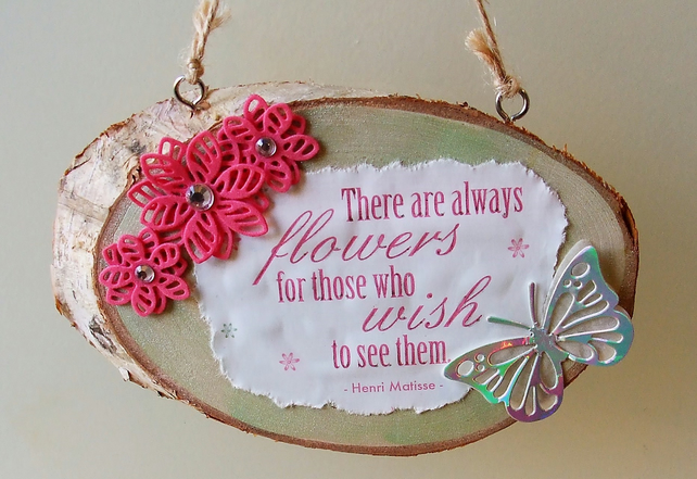 Wooden Hanging Plaque, Flowers and Butterfly REDUCED TO CLEAR