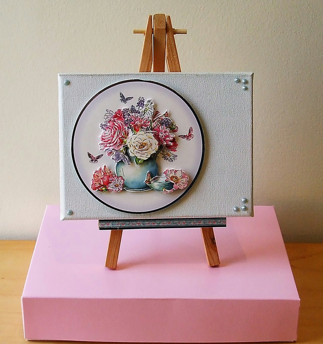 Mixed Media Canvas, Pink and White Flowers