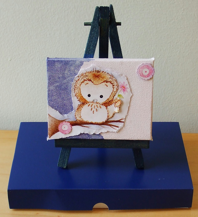 Miniature Owl Canvas with Easel and Gift Box