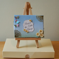 Miniature Mixed Media Quotation Canvas, Enjoy The Little Things