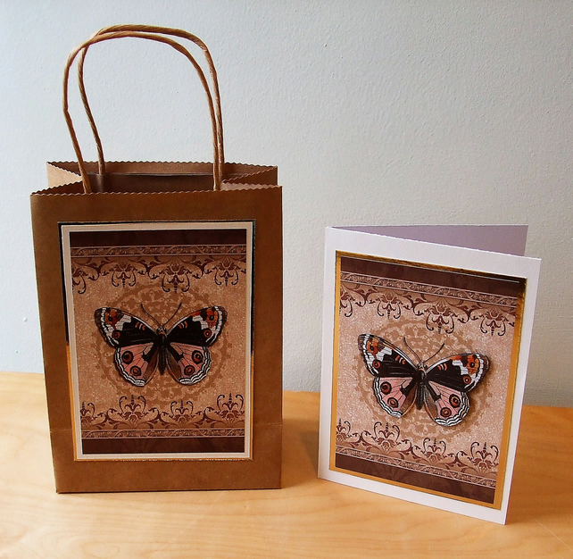 Gift Bag and Card Set, Sepia butterfly REDUCED TO CLEAR