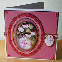 Handmade Pink Fuchsia Card  (526) REDUCED TO CLEAR