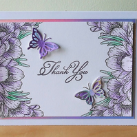 Handmade Thank You Card, Purple Crocuses