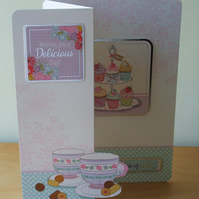 Any Occasion card, Cupcakes and A Cuppa!  REDUCED TO CLEAR