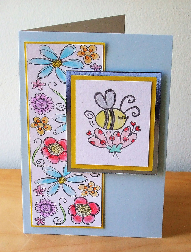 Any Occasion Card, Bumble Bee and Flowers  (538)