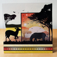 Safari Card, Antelope and Zebra
