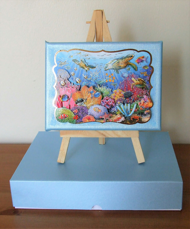 Mixed Media Canvas, easel and gift box, Under The Sea