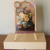 Mixed Media Canvas, easel and gift box, Rose Bouquet
