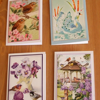 Pack Of 4 Mini Notecards, Birds