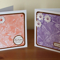 Pack of 2 Thank You Cards, Butterflies and Flowers, Coral and Purple