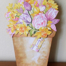 Plant Pot Card, Tulips and Daffodils
