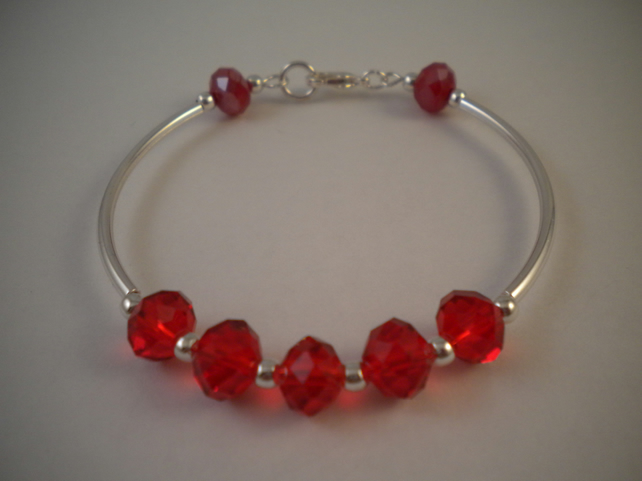 Glass Crystal Bangle - Red