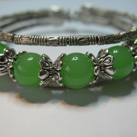 Tibetan Silver and Jade Glass Bangle
