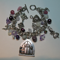Purple Fairy Door Charm Bracelet - Are you a believer