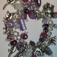 Purple Dino Crazy Charm Bracelet