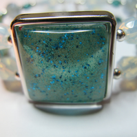 Nail Polish Bangle - Turquoise Square
