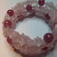 Memory Chip and Glass Bracelet - Pink