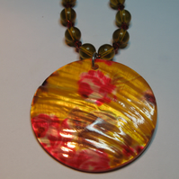 Painted Shell Rose Necklace