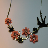 Irregular Bronze Swallow and Flower Necklace