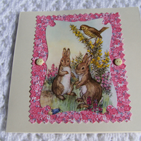 Sweet  Vintage Bunny Mother's Day, Easter Card. Blank