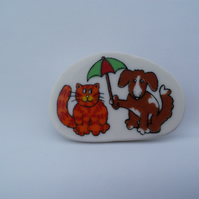 Comical Stoneware Cat and Dog Brooch