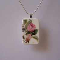 Fine Bone China Rose Pendant and Necklace