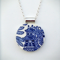Blue & White Pottery Pendant and Necklace