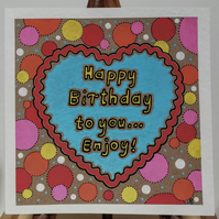 Painted Happy Birthday Bubble Card, Blank