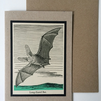 1940's Long eared Bat Card Vintage Halloween