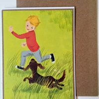 Boy and Dachshund A6 Card Best Friends Blank