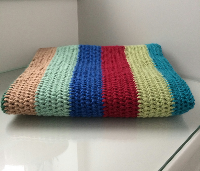 Striped Crocheted Lap Blanket Baby Blanket