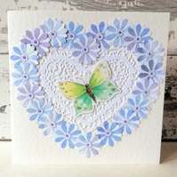 Paper Flower Heart Butterfly Blank Card