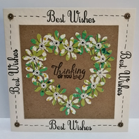Best Wishes Thinking of you Heart Flower Card