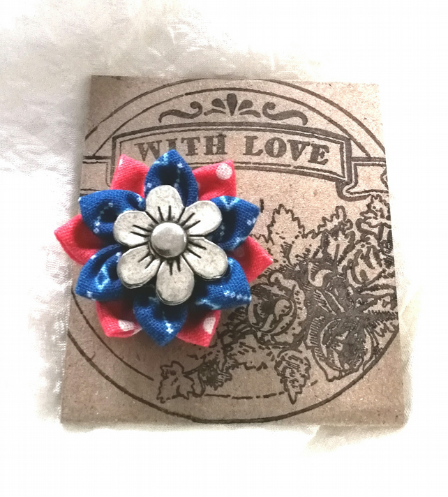 Textile Flower Badge Tie Pin Lapel Pin Brooch Pin Flower Pin