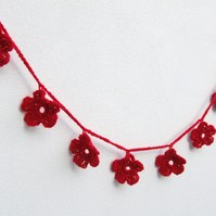 Christmas decoration, red flower garland