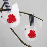 Valentine's Day felt bird decoration, white bird gift tags, Valentines gift tag