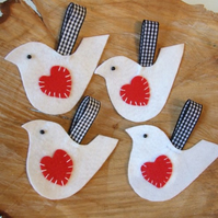 Lovebird decorations, white felt birds, set of four birds
