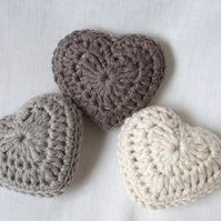 Crochet lavender hearts, set of three organic cotton hearts, Valentine's hearts