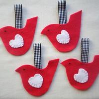 Love bird decorations,  four felt bird ornaments, red bird hangers