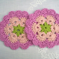 Cotton crochet coasters, organic cotton doilies, pink coasters