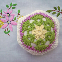 Flower pincushion, African flower crochet pincushion