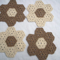 organic cotton coasters, crochet coasters, coasters set of four