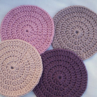organic cotton coaster set, crochet coasters set of four