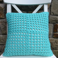 Crochet cushion cover, turquoise blue with red button cushion cover