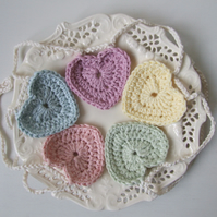 crochet heart bunting, pastel heart garland, Easter bunting