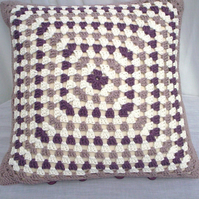 Organic cotton crochet cushion cover, granny square cushion cover,